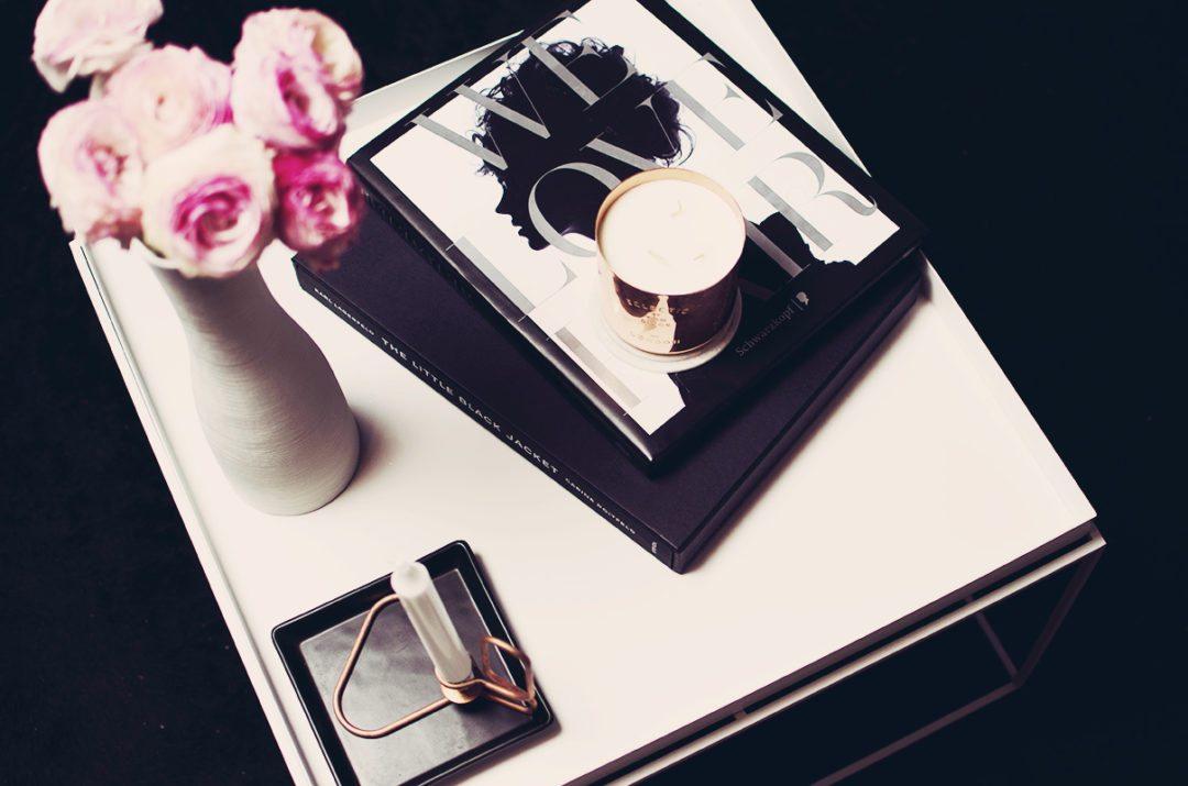 coffee table copper black white